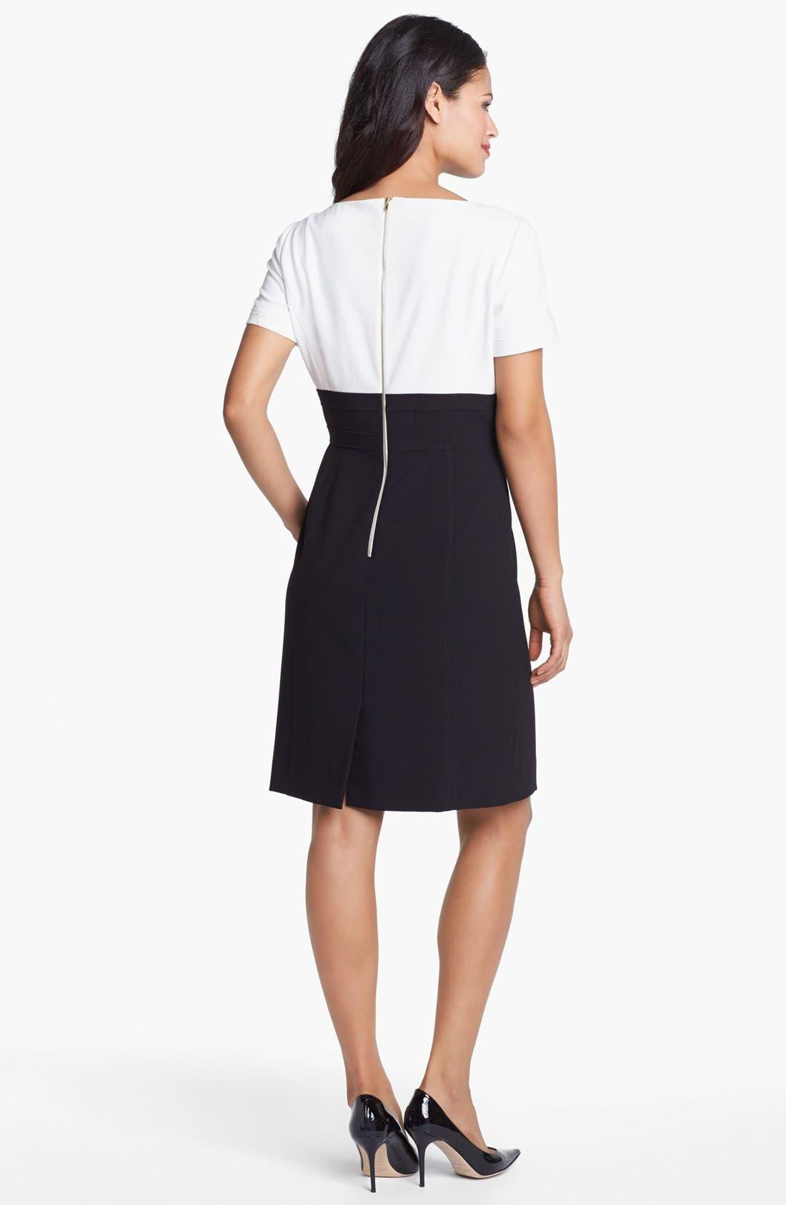 Alternate Image 2  - Tahari Short Sleeve Stretch Sheath Dress (Regular & Petite)