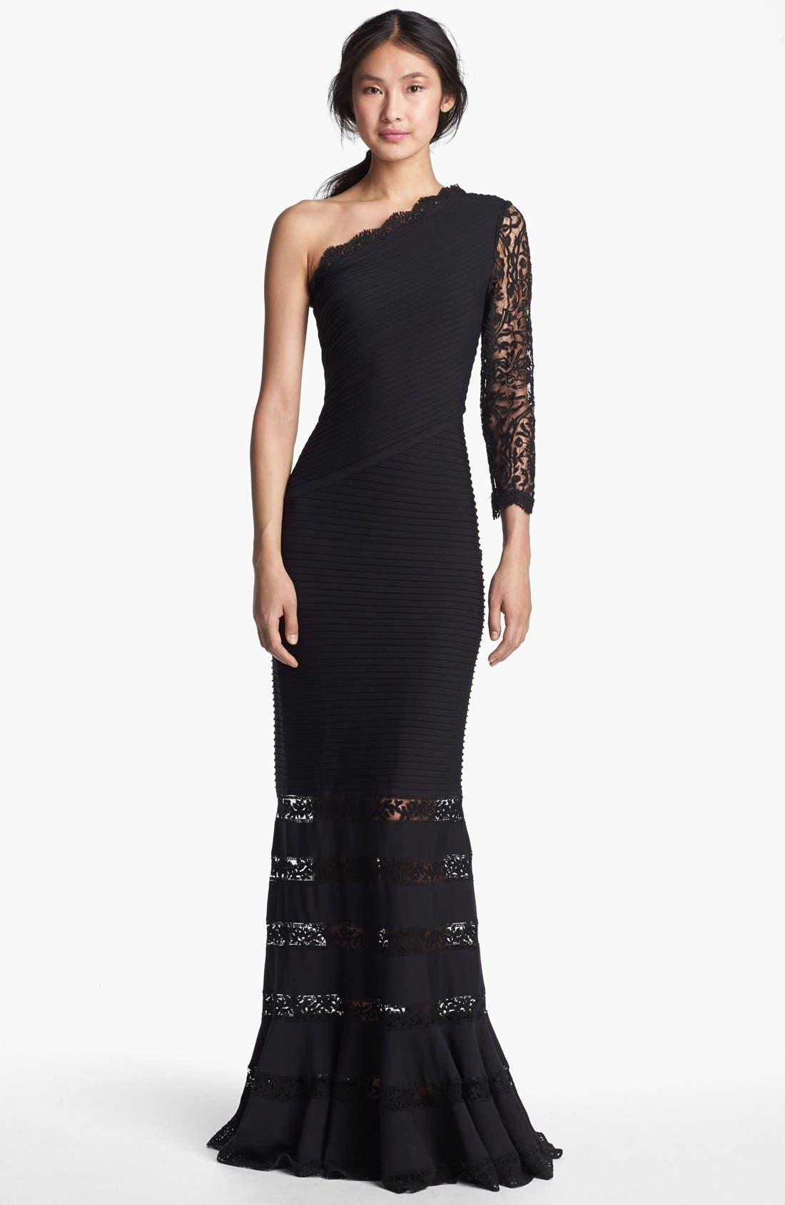 Alternate Image 1 Selected - Tadashi Shoji One Shoulder Lace Detail Gown