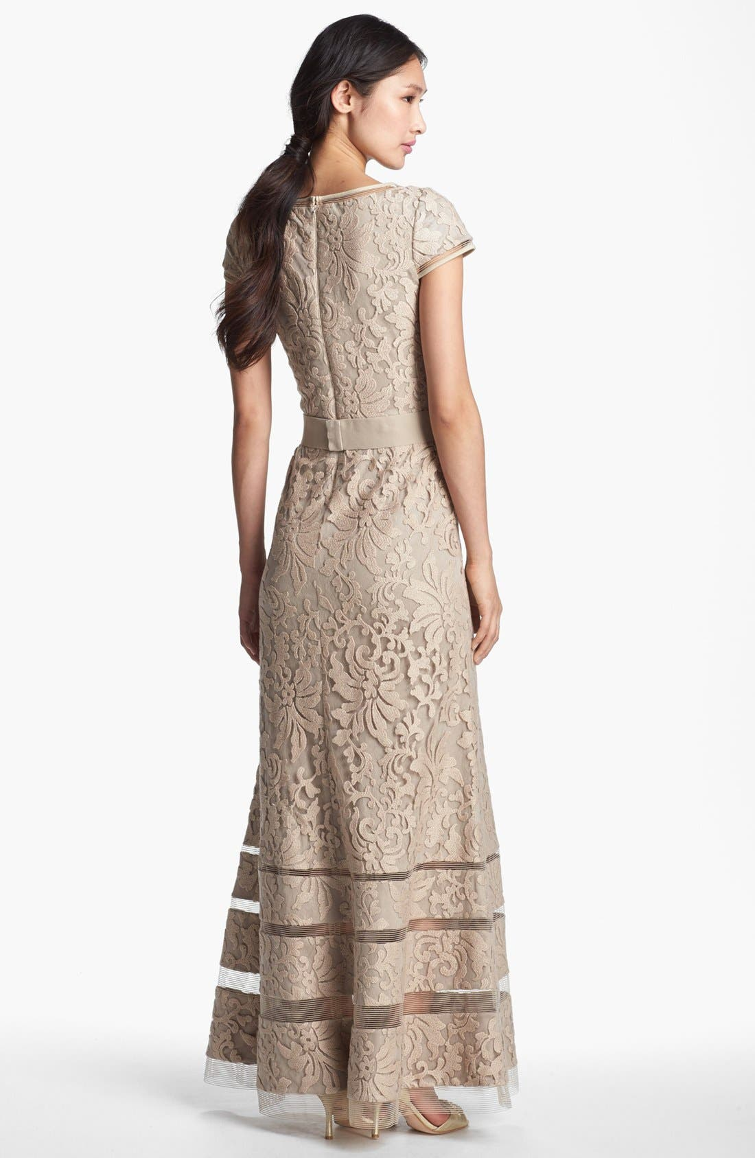 Alternate Image 2  - Tadashi Shoji Cap Sleeve Lace Gown