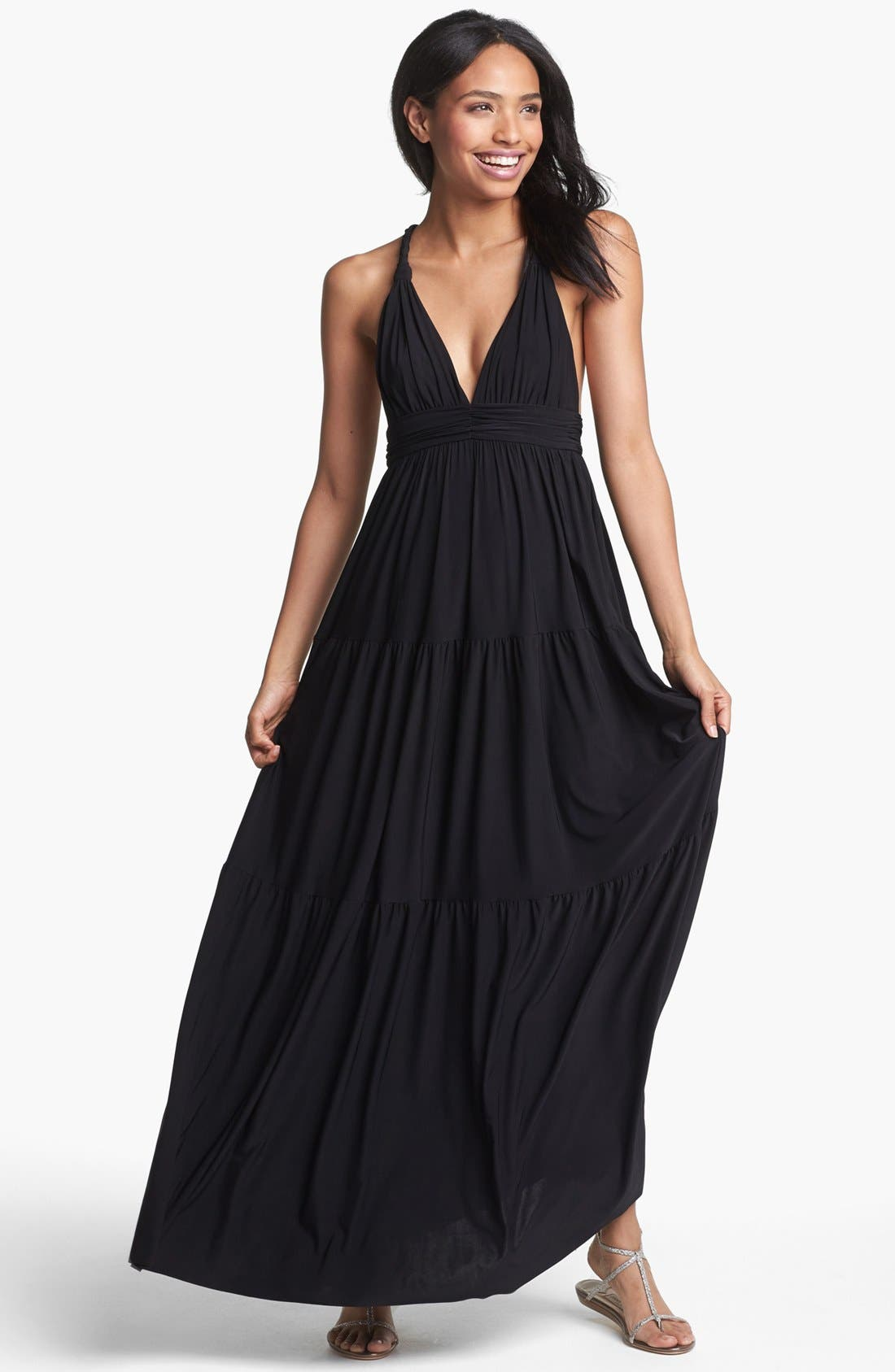 Main Image - Tbags Los Angeles Back Detail Jersey Maxi Dress