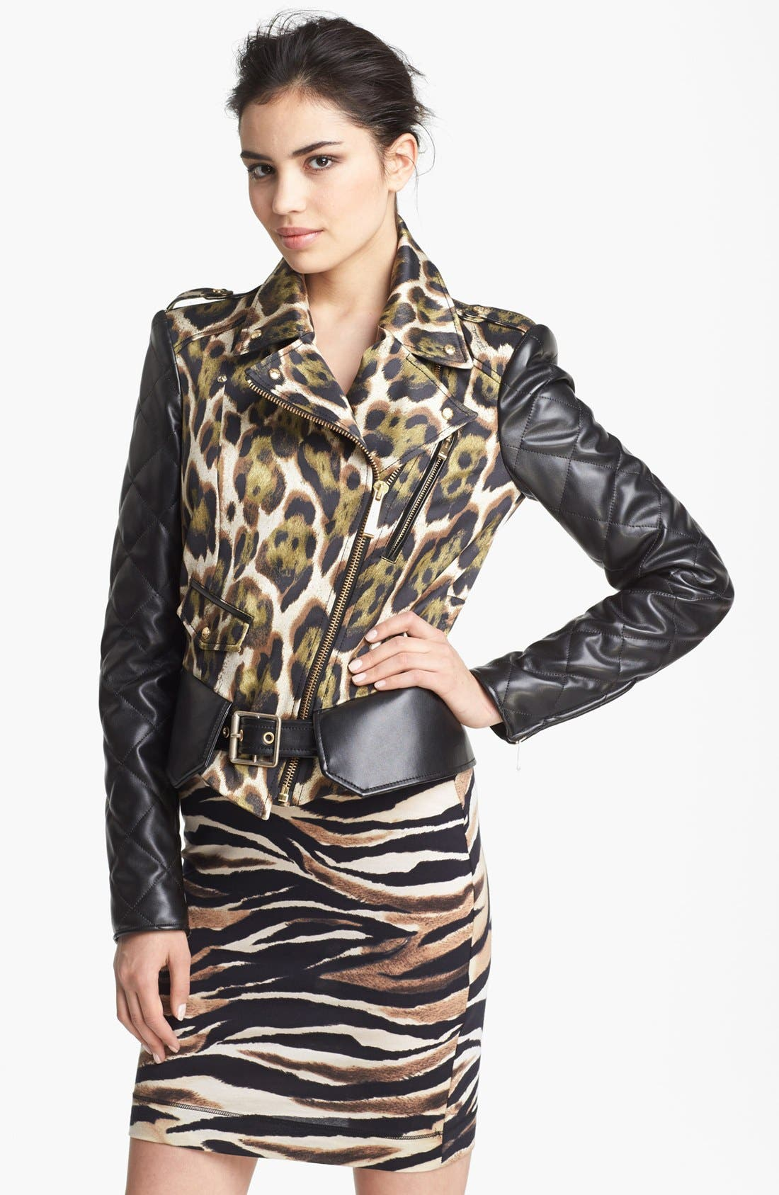 Main Image - Just Cavalli Canvas & Leather Moto Jacket