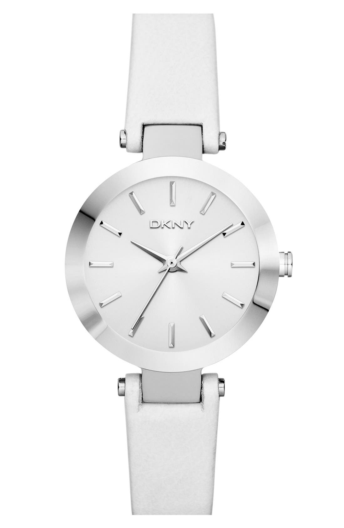 Main Image - DKNY Round Leather Strap Watch, 28mm