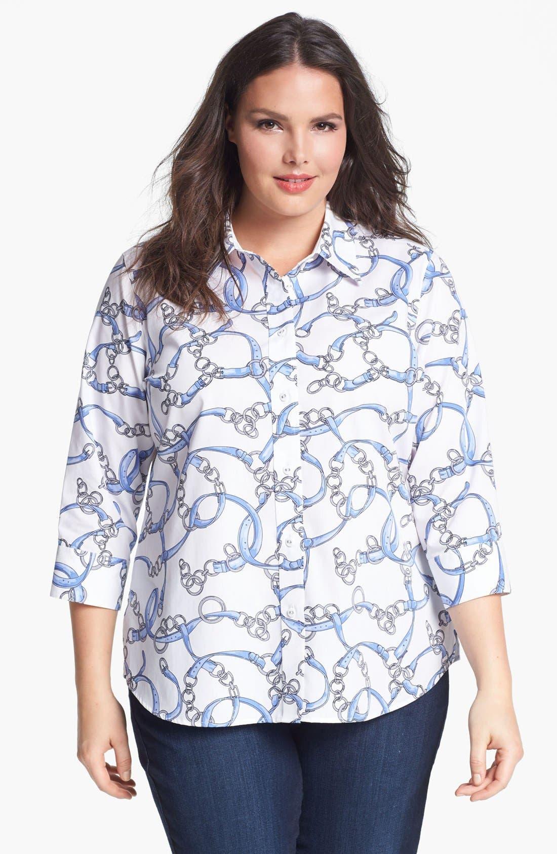 Main Image - Foxcroft Print Shirt (Plus Size)
