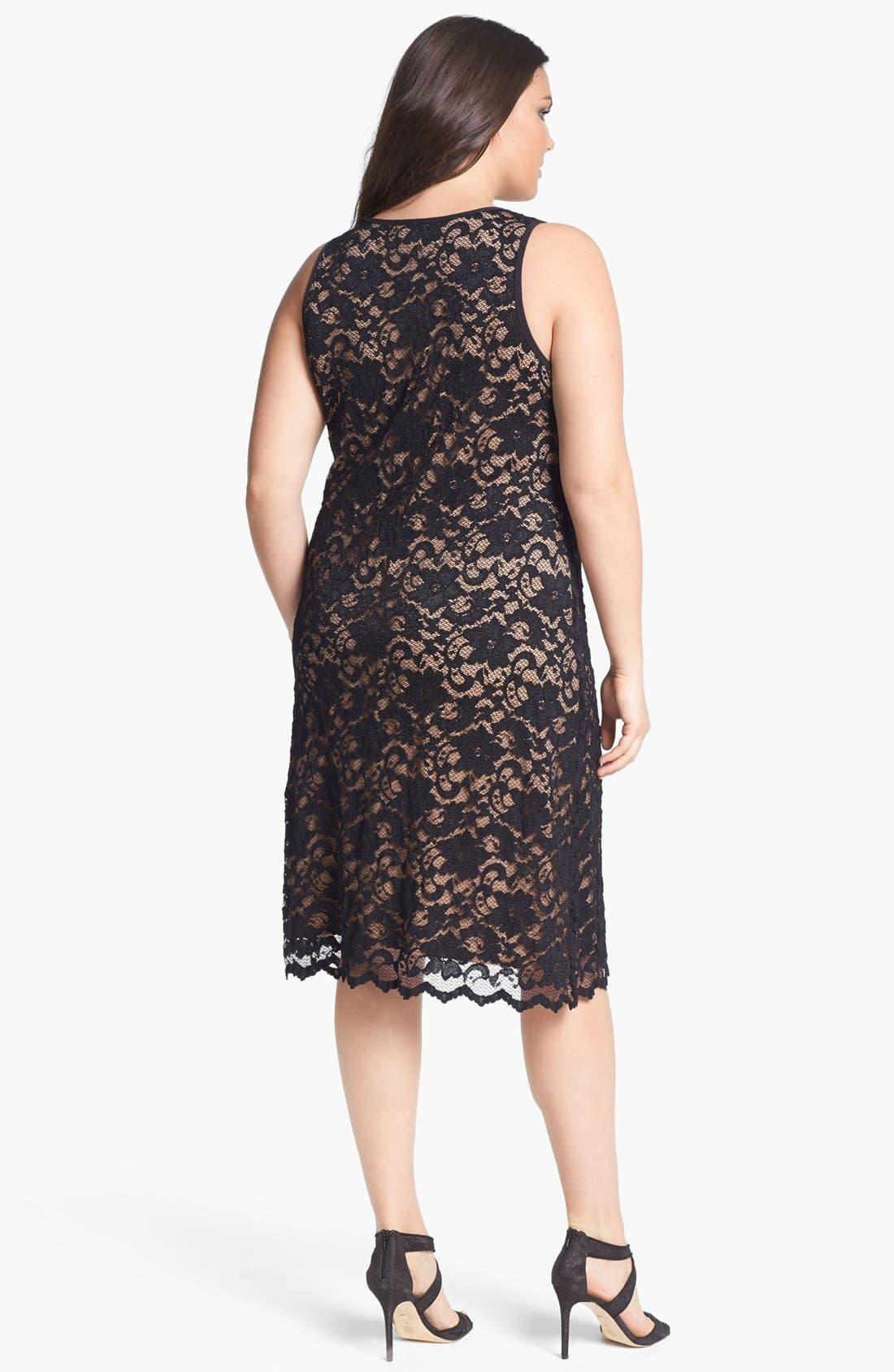Alternate Image 2  - Karen Kane Lace Tank Dress (Plus Size)