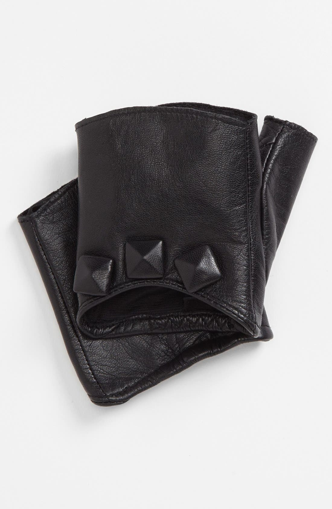 Alternate Image 2  - Nordstrom Covered Stud Fingerless Leather Driving Gloves
