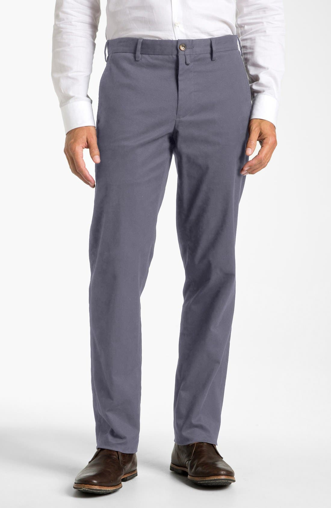Alternate Image 1 Selected - Façonnable Flat Front Cotton Twill Trousers