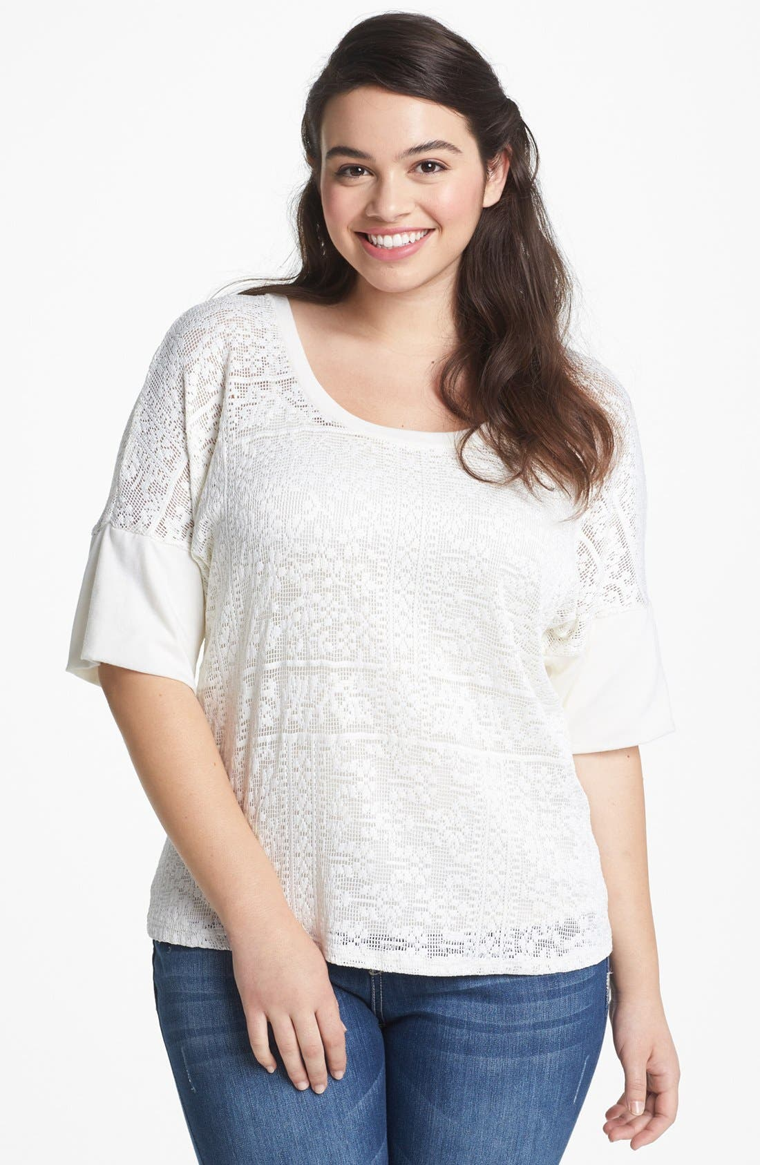 Alternate Image 1 Selected - Lily White Crochet Top (Juniors Plus)