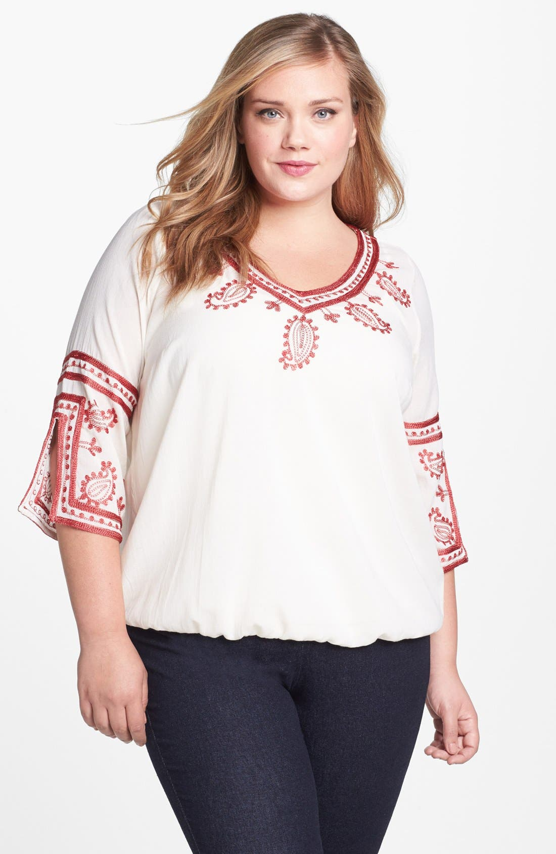 Alternate Image 1 Selected - Lucky Brand Embroidered Tunic (Plus)
