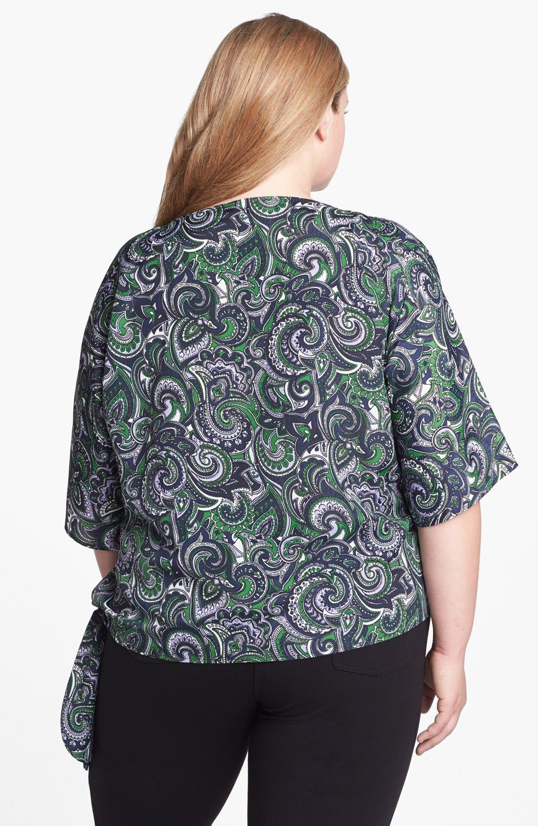 Alternate Image 2  - MICHAEL Michael Kors Print Side Tie Top (Plus Size)
