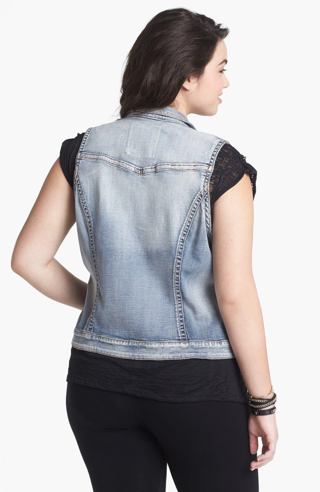 Alternate Image 2  - Silver Jeans Co. Denim Vest (Juniors Plus)