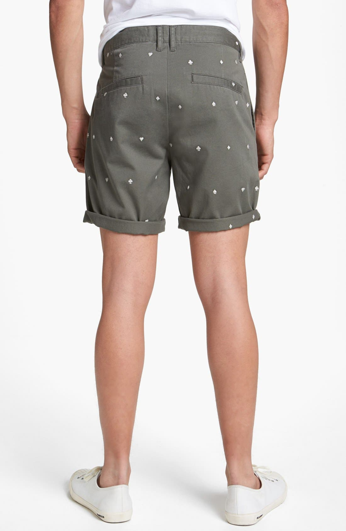 Alternate Image 2  - Topman Embroidered Playing Card Shorts