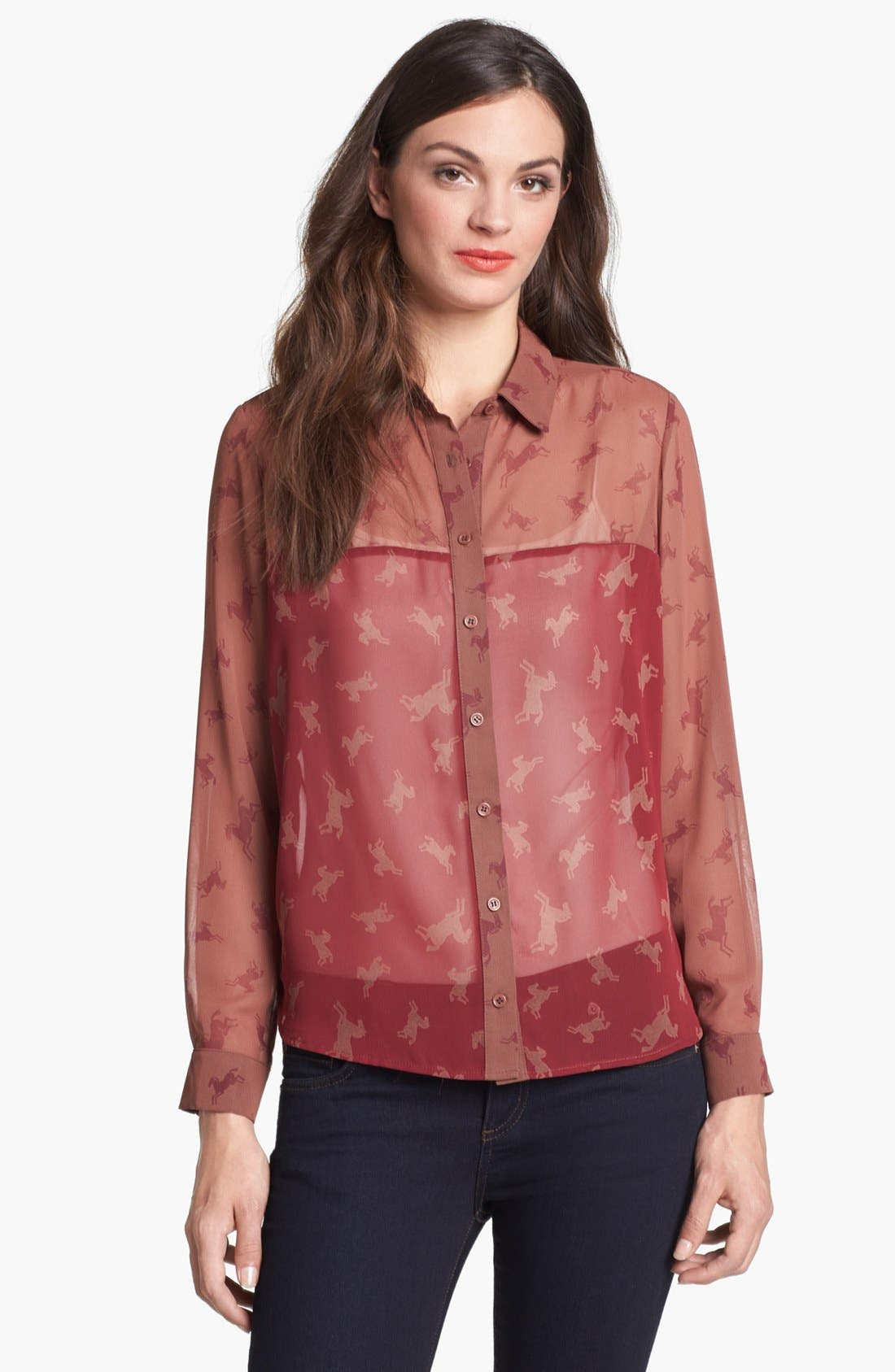 Alternate Image 1 Selected - Pleione High/Low Woven Shirt