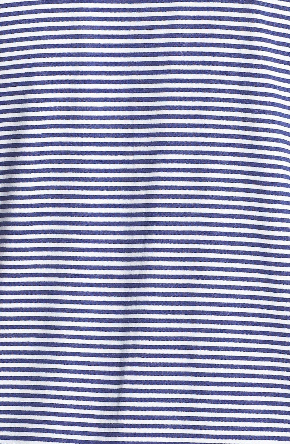 Alternate Image 3  - Sejour Mitered Stripe V-Neck Tee (Plus Size)