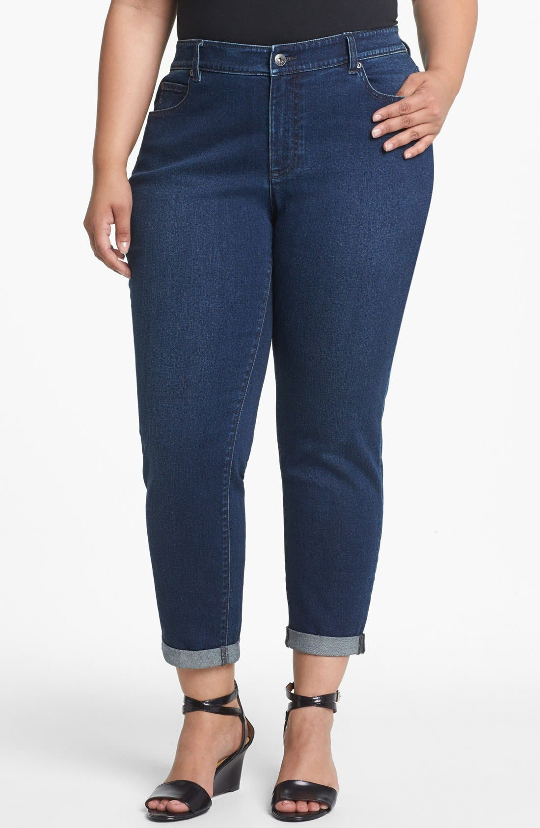 Alternate Image 1 Selected - Two by Vince Camuto Cuff Crop Jeans (Plus Size)