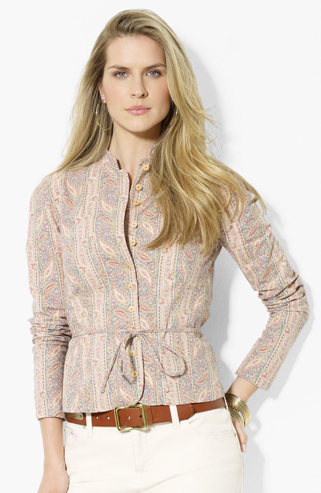 Alternate Image 1 Selected - Lauren Ralph Lauren Belted Linen Blend Jacket