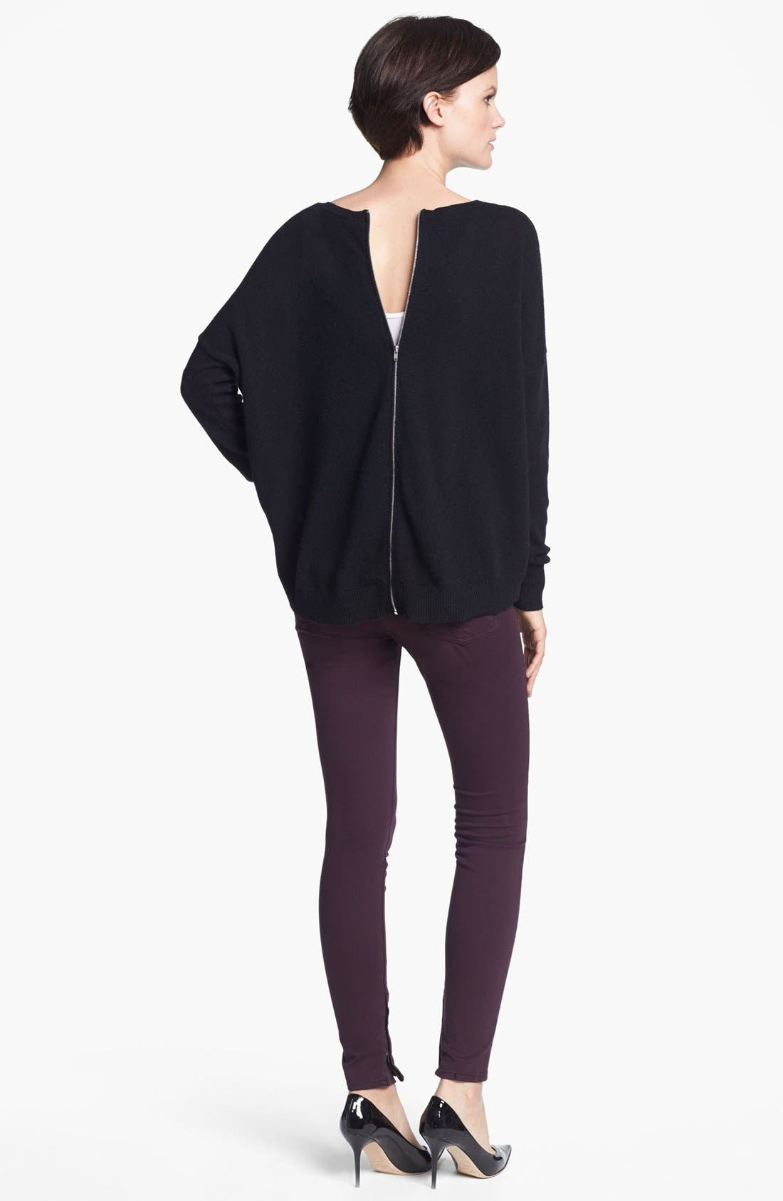 Alternate Image 2  - autumn cashmere Back Zip Cashmere Sweater