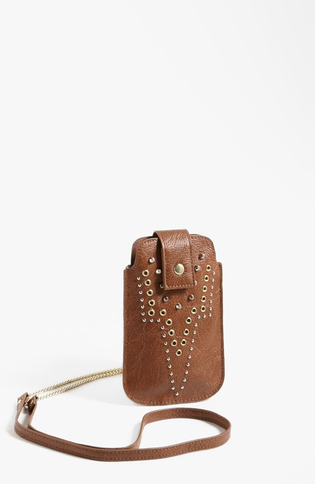 Main Image - T-shirt & Jeans Studded Faux Leather Crossbody Pouch (Juniors)