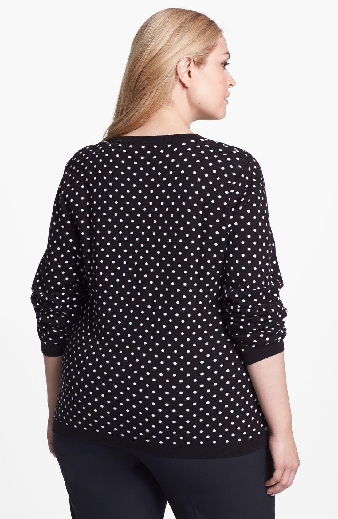 Alternate Image 2  - Foxcroft Polka Dot Cardigan (Plus Size) (Online Only)
