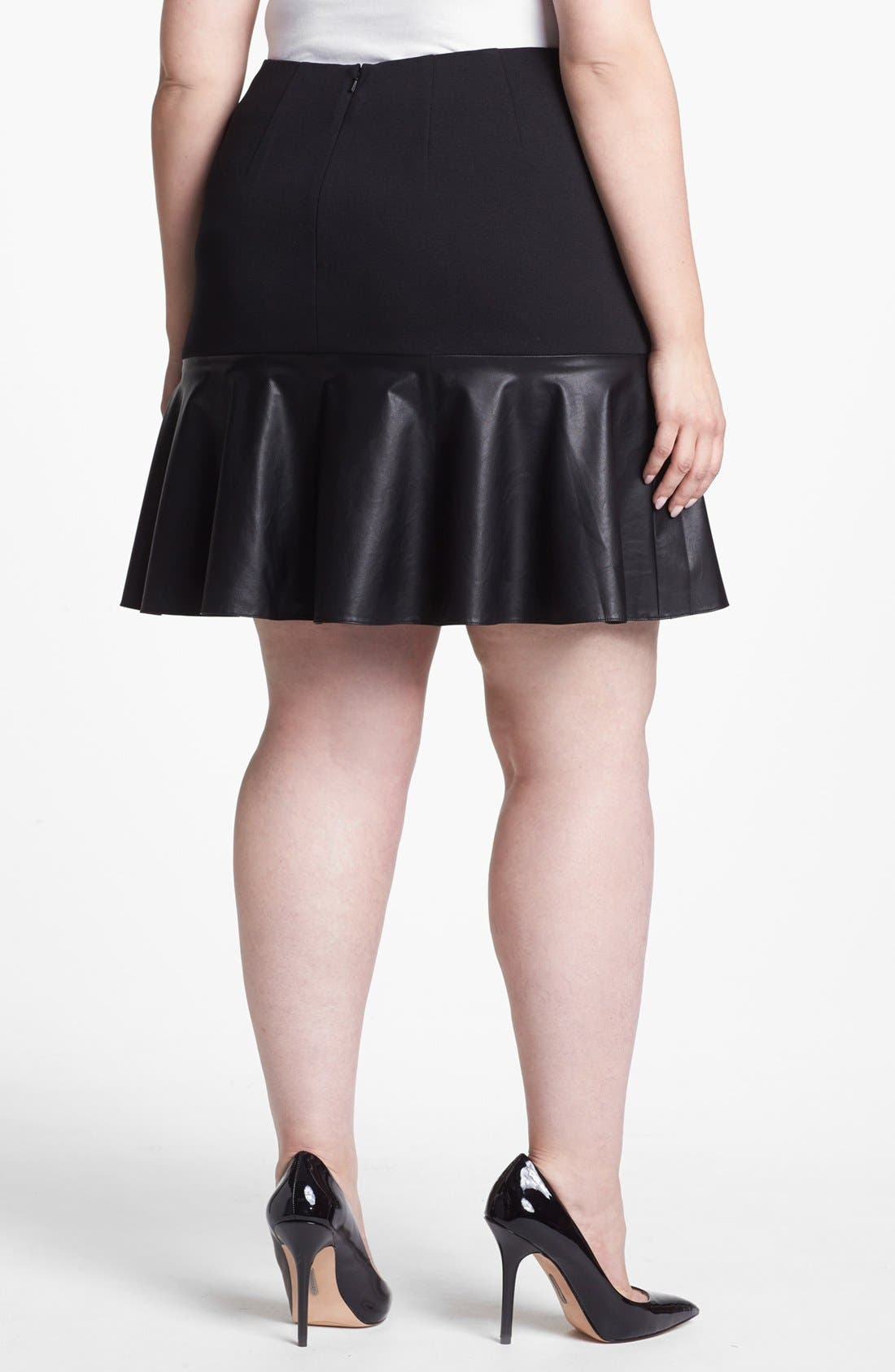 Alternate Image 2  - Halogen® Faux Leather & Ponte Knit Skirt (Plus Size)
