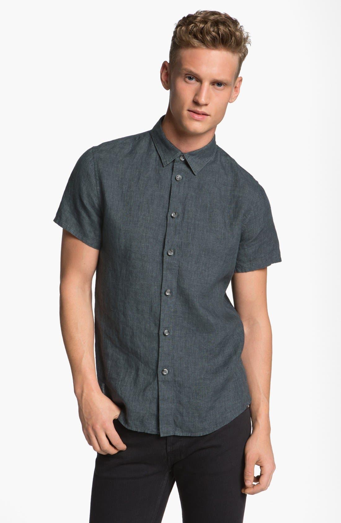 Alternate Image 1 Selected - A.P.C. 'Ernest' Short Sleeve Linen Shirt