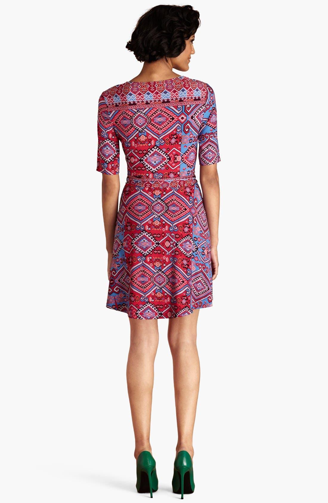 Alternate Image 2  - Donna Morgan Print Matte Jersey Faux Wrap Dress (Regular & Petite)
