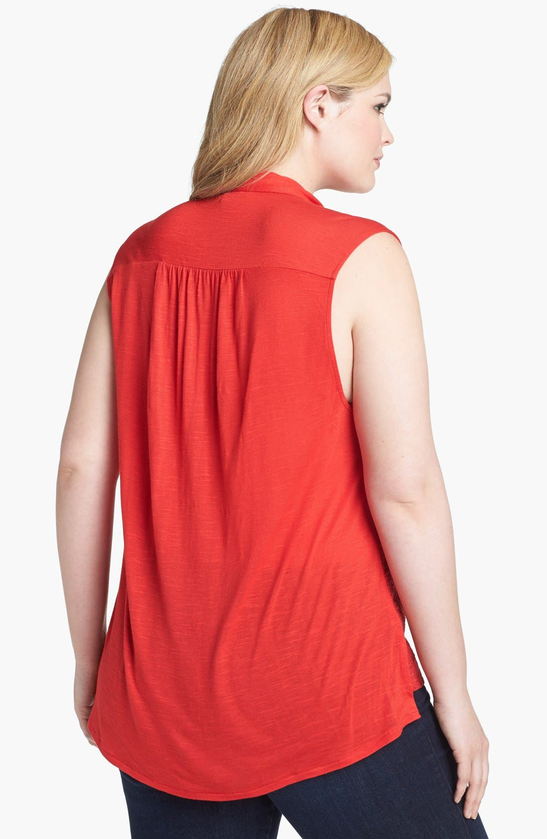 Alternate Image 2  - Lucky Brand 'Vivianne' Sleeveless Eyelet Shirt (Plus Size)