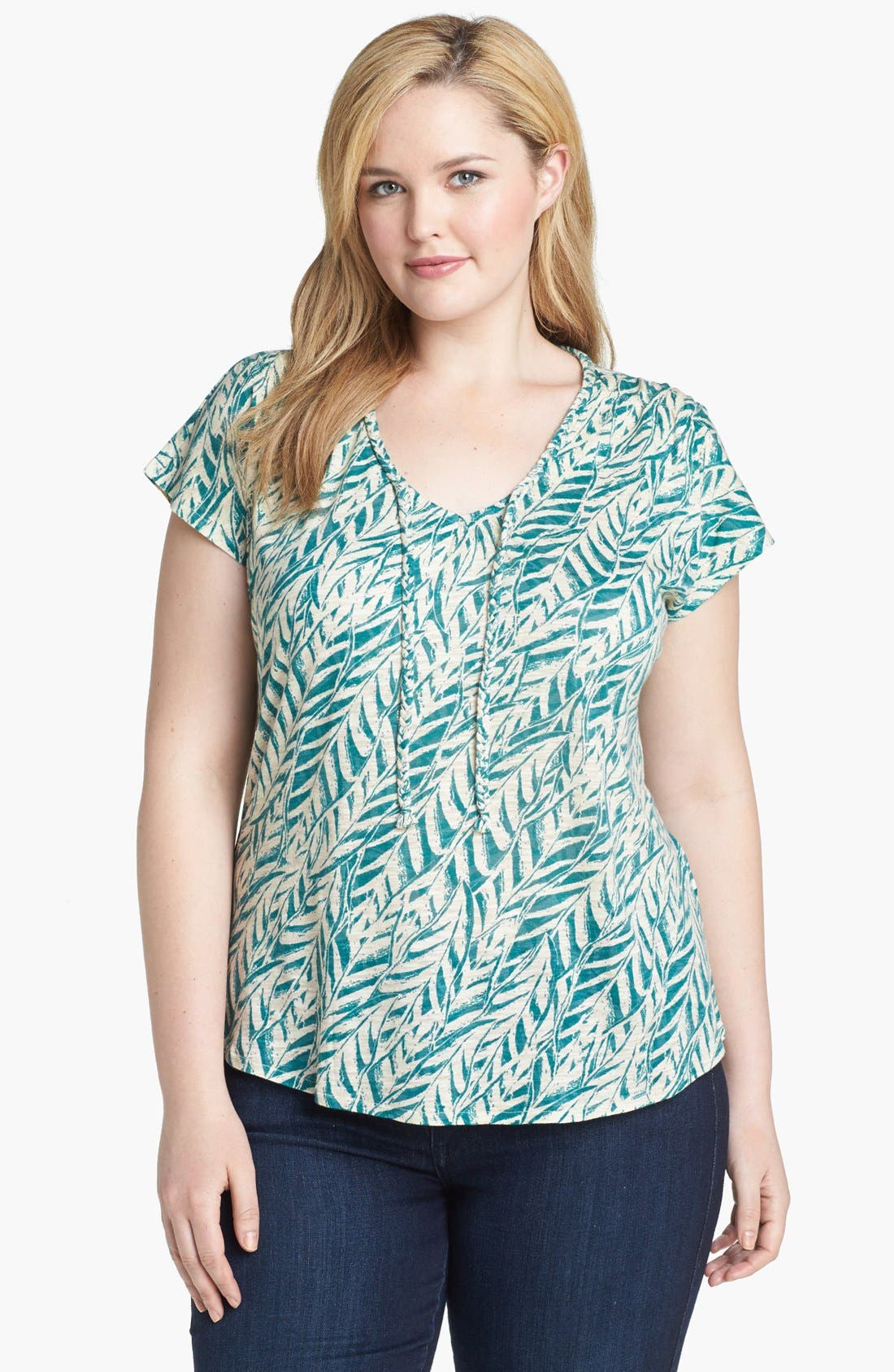 Alternate Image 1 Selected - Lucky Brand 'Myra' Tropical Print Top (Plus Size)