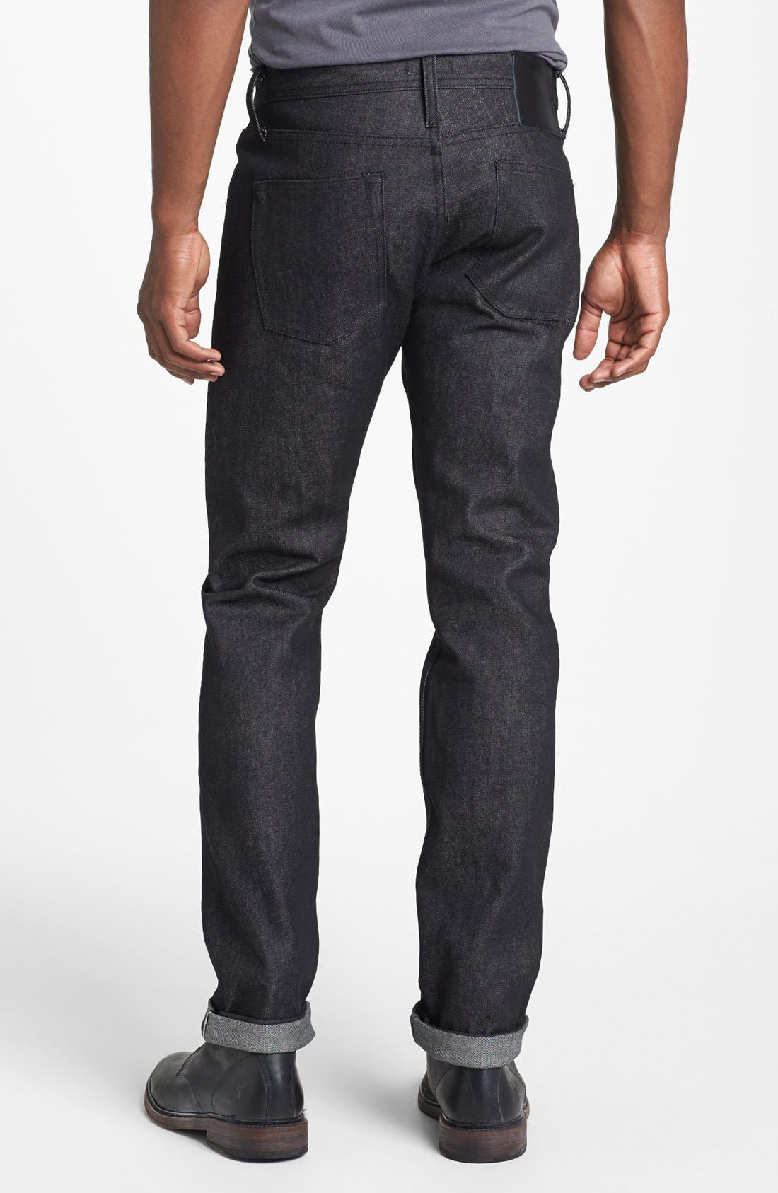Alternate Image 1 Selected - The Unbranded Brand Skinny Fit Selvedge Jeans (Black)