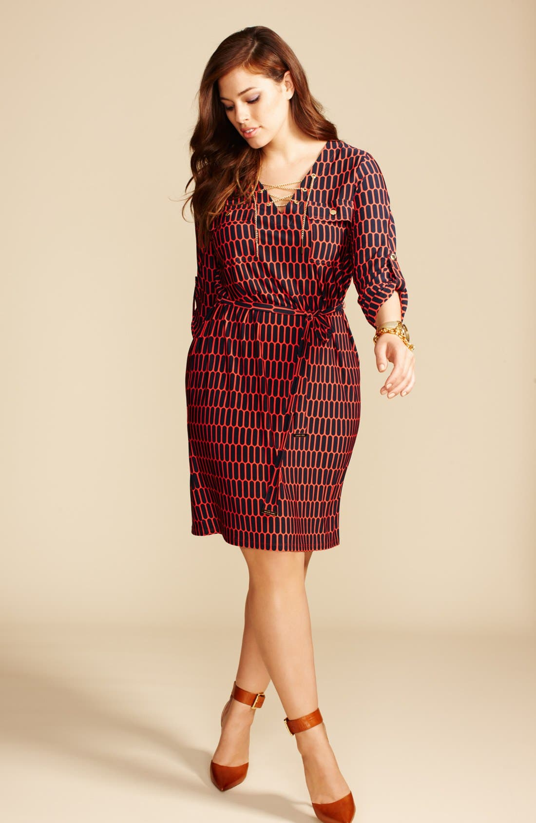 Alternate Image 4  - MICHAEL Michael Kors Print Chain Lace-Up Shirtdress (Plus Size)
