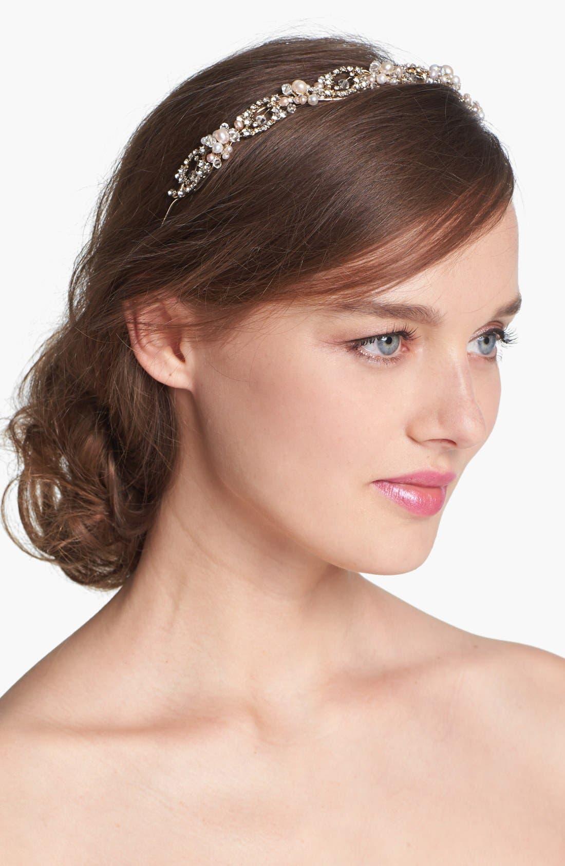 Main Image - Nina 'Elaine' Crystal & Faux Pearl Headband
