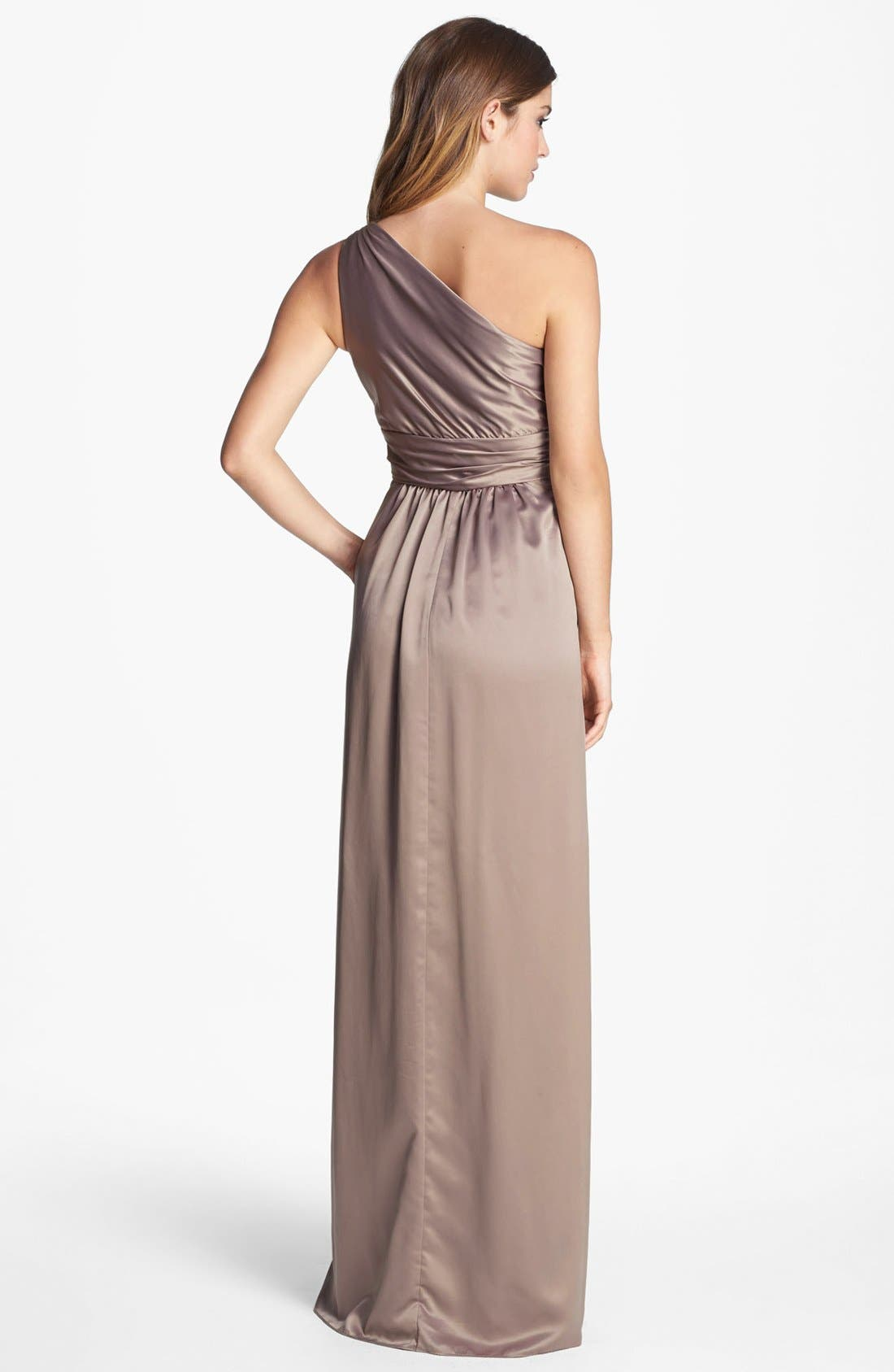 Alternate Image 2  - Amsale One Shoulder Charmeuse Gown