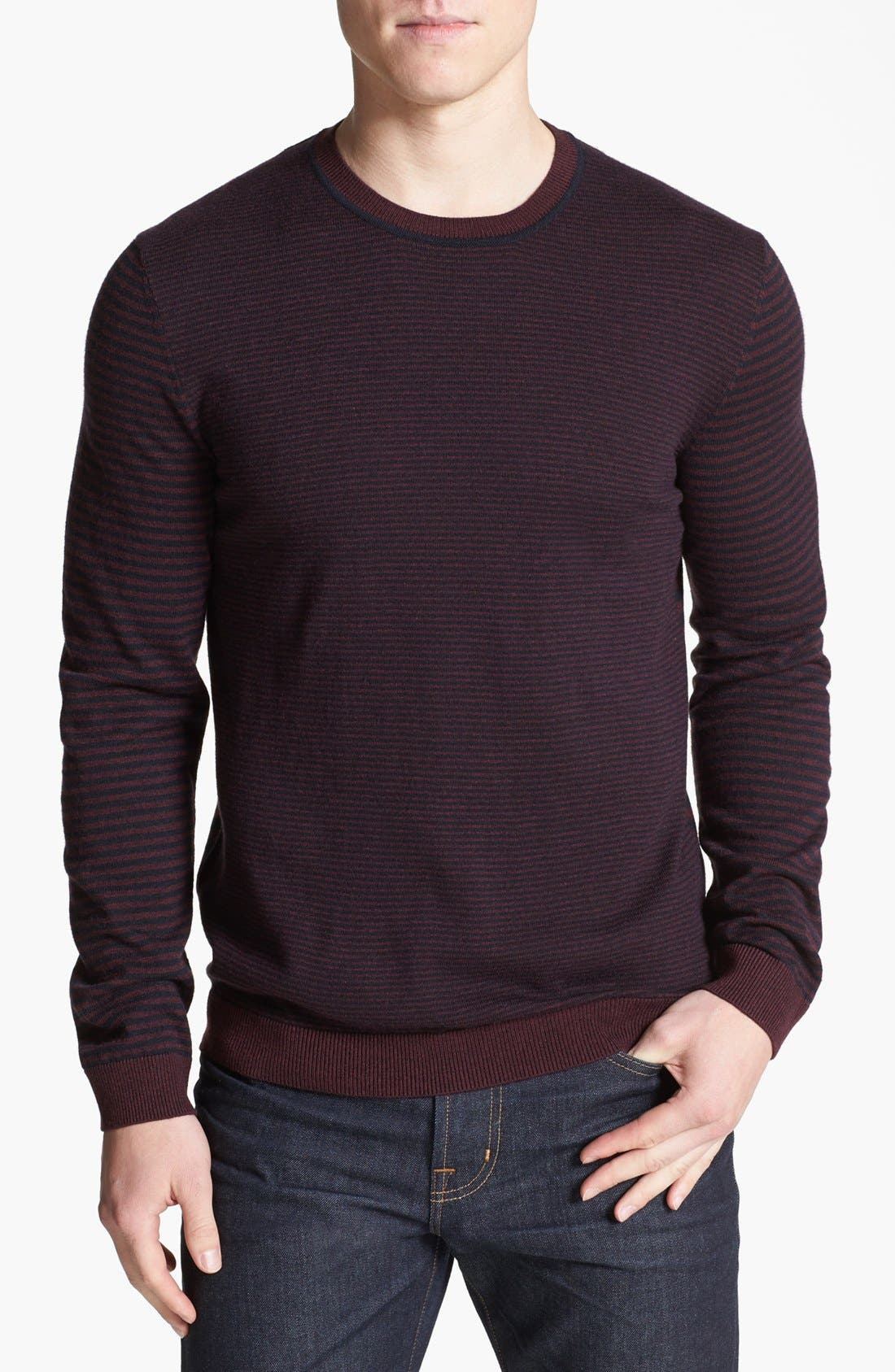 Alternate Image 1 Selected - Ted Baker London 'Moseley' Striped Crewneck Sweater