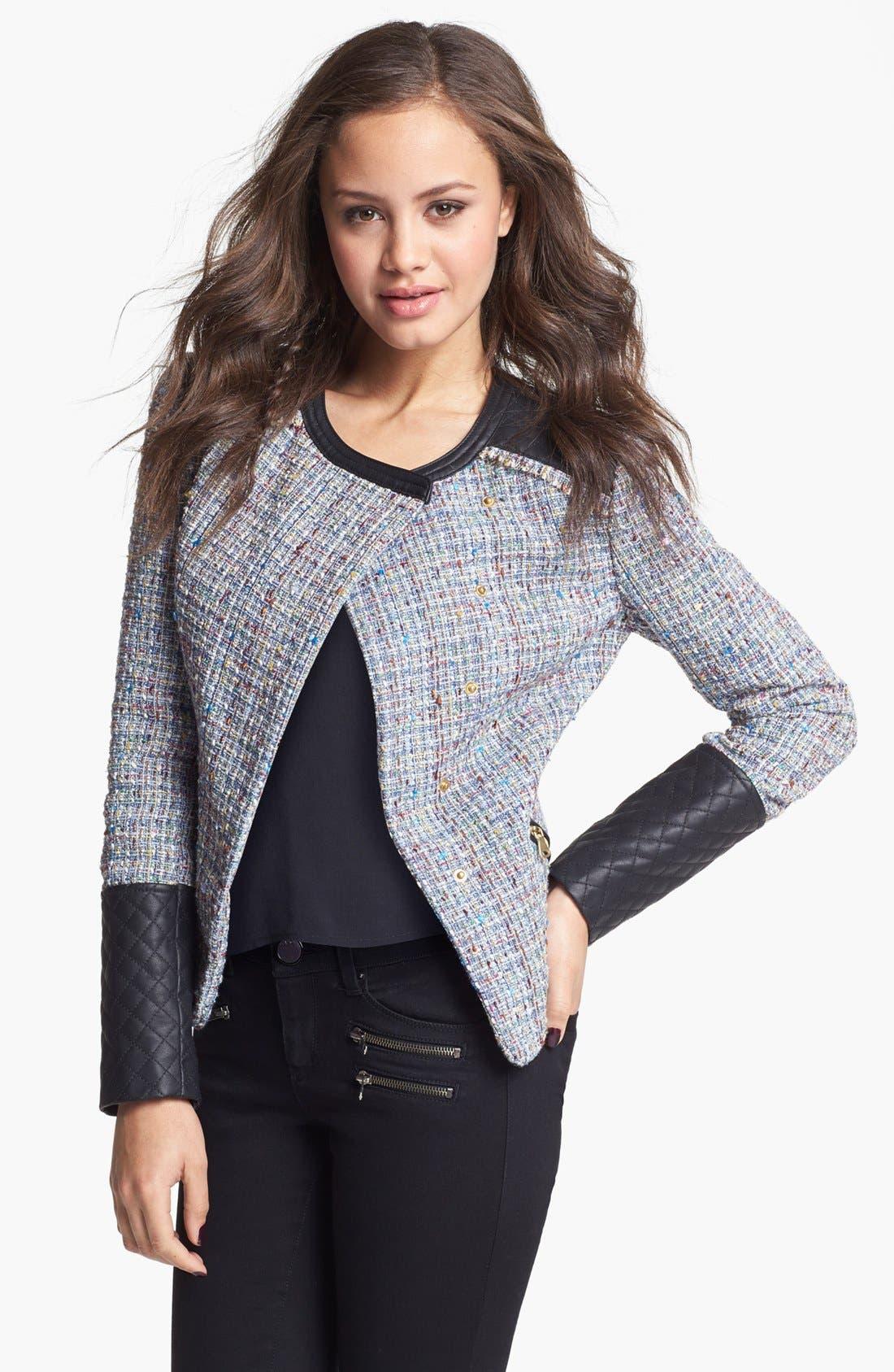 Alternate Image 1 Selected - Collection B Faux Leather & Bouclé Jacket (Juniors)