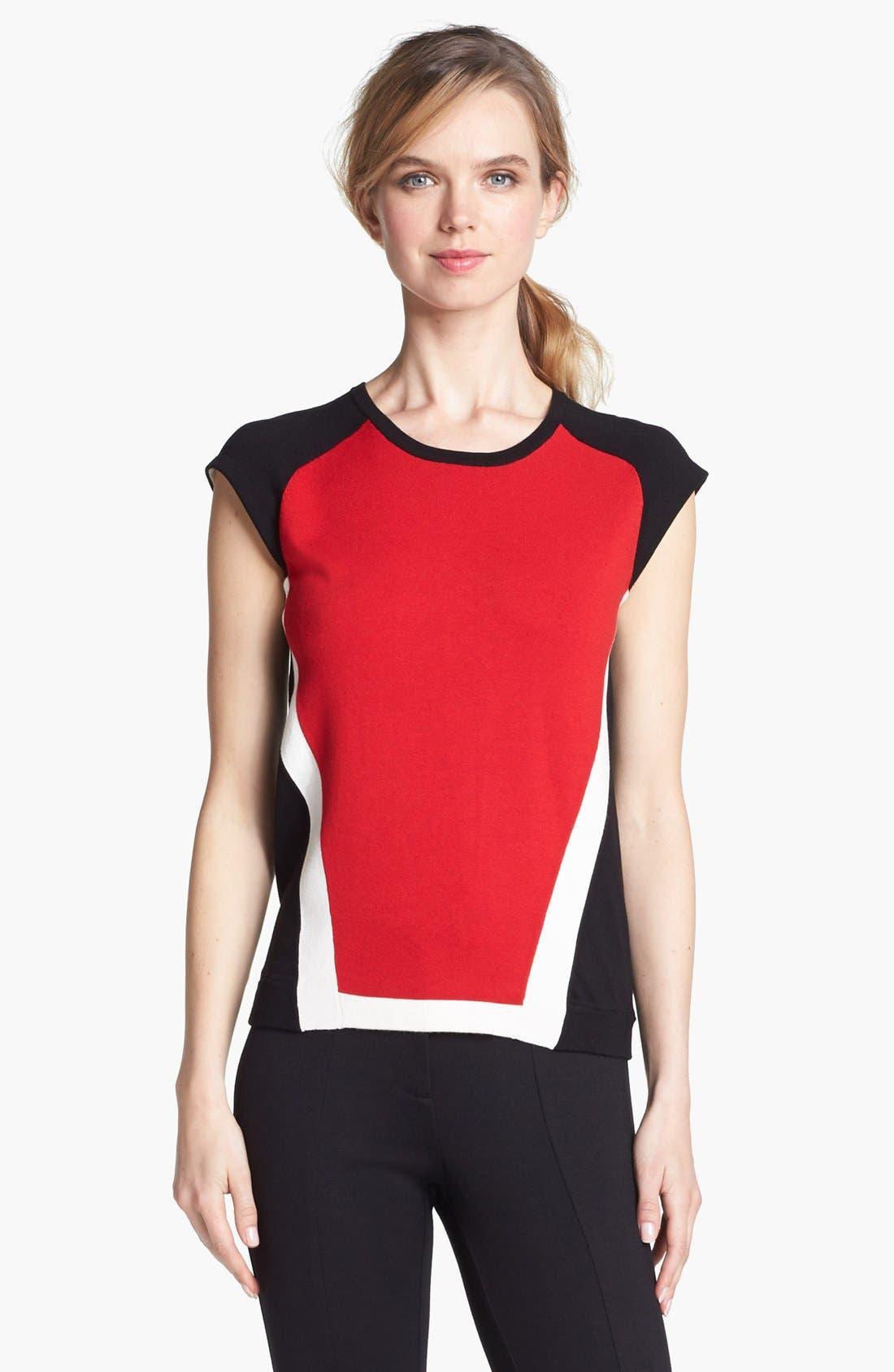 Alternate Image 2  - Vince Camuto Colorblock Cap Sleeve Sweater