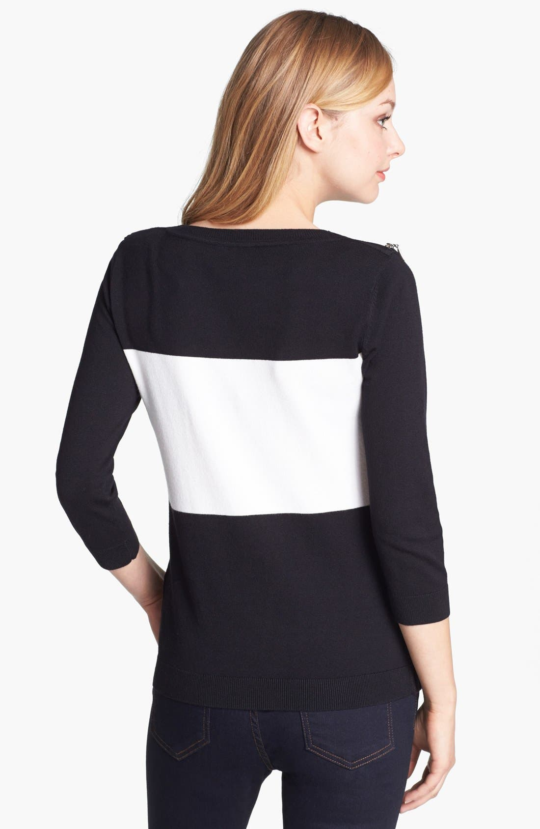 Alternate Image 2  - Vince Camuto Zip Shoulder Colorblock Sweater