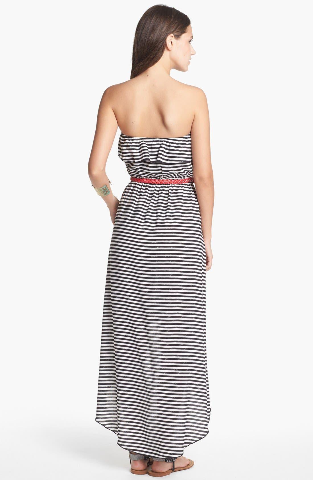 Alternate Image 2  - Trixxi Stripe Ruffle High/Low Dress (Juniors) (Online Only)