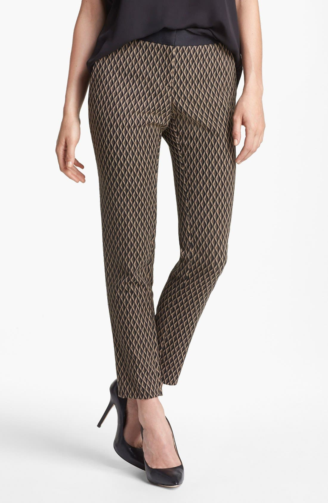 Alternate Image 1 Selected - Vince Camuto Satin Waist Jacquard Crop Pants