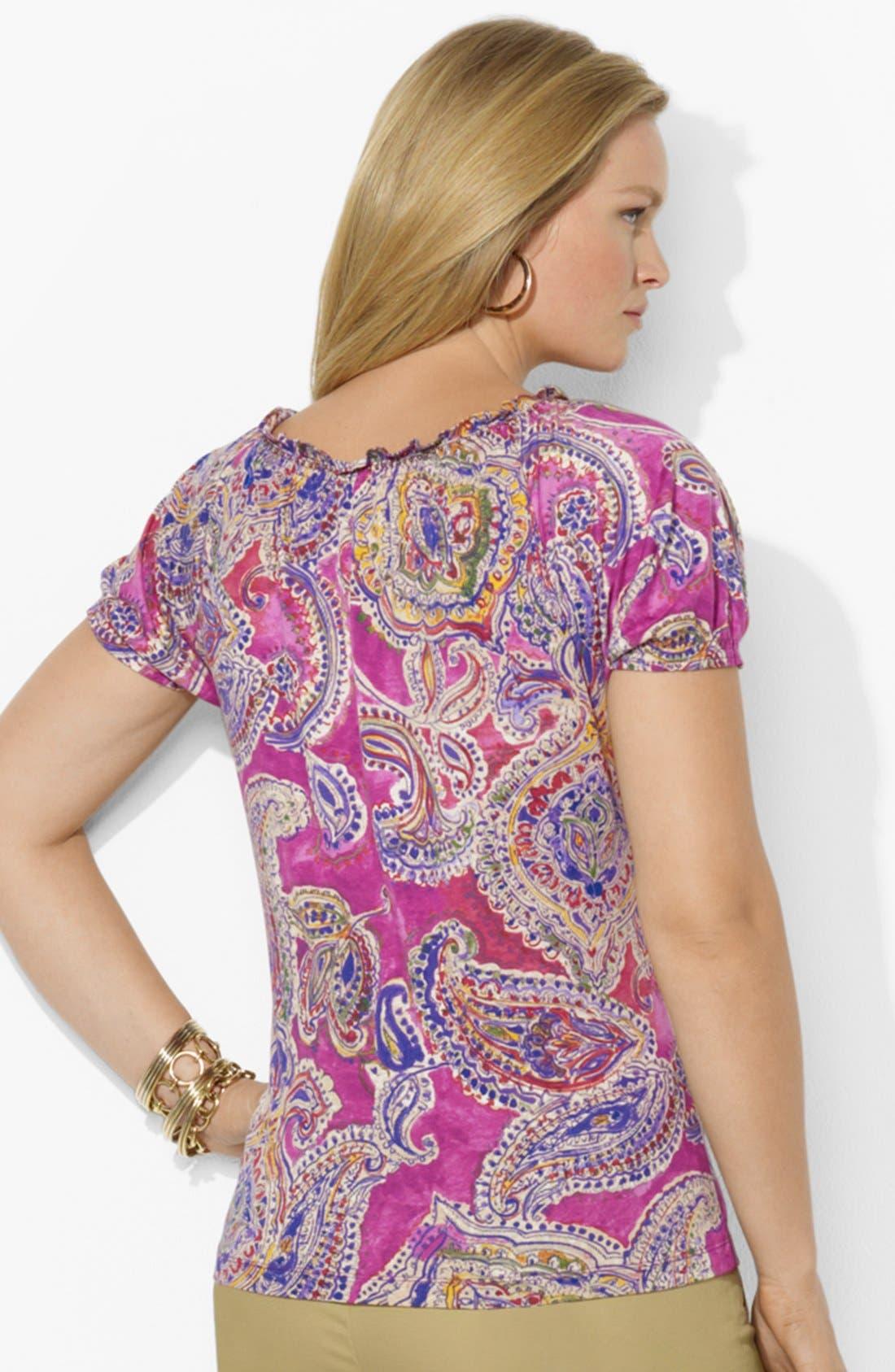 Alternate Image 2  - Lauren Ralph Lauren Paisley Cotton Top (Plus Size)