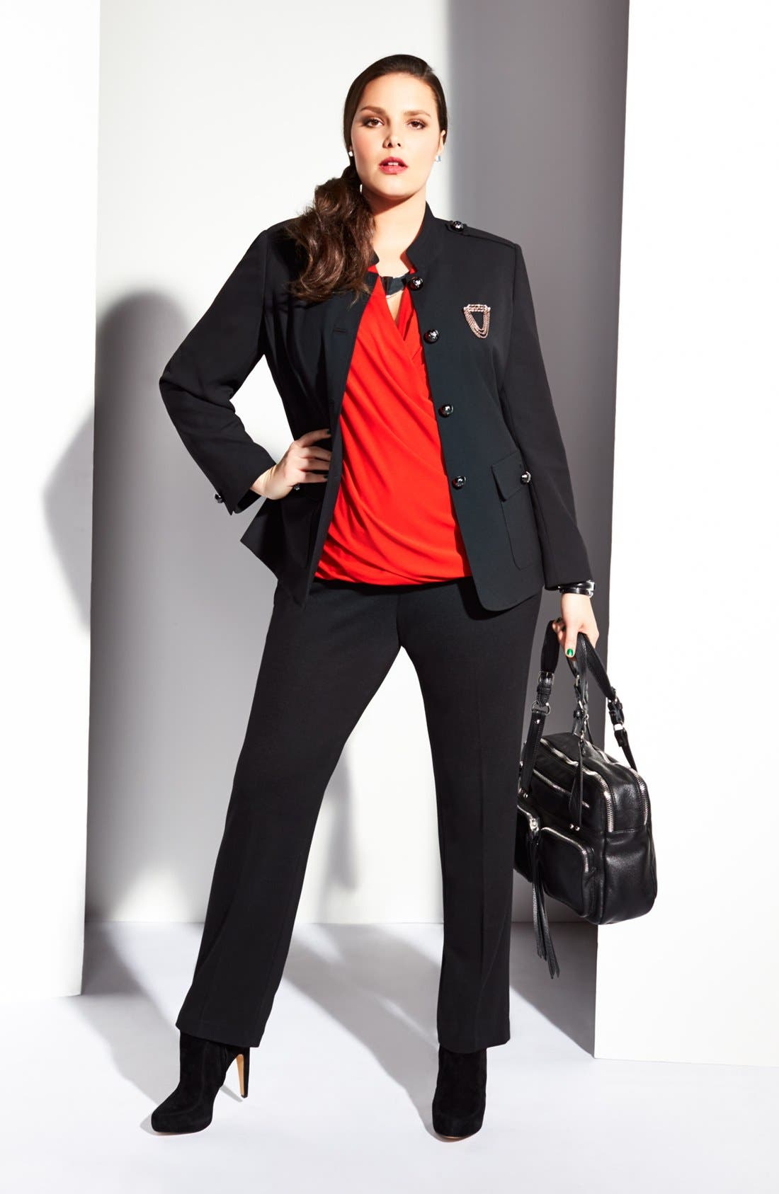 Alternate Image 1 Selected - Vince Camuto Wrap Top, Military Jacket & Trouser Pants