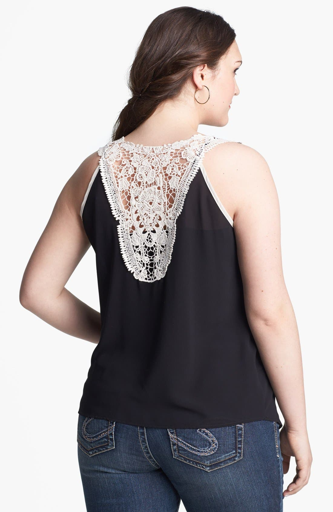 Alternate Image 2  - Painted Threads Lace Back Tank (Juniors Plus)