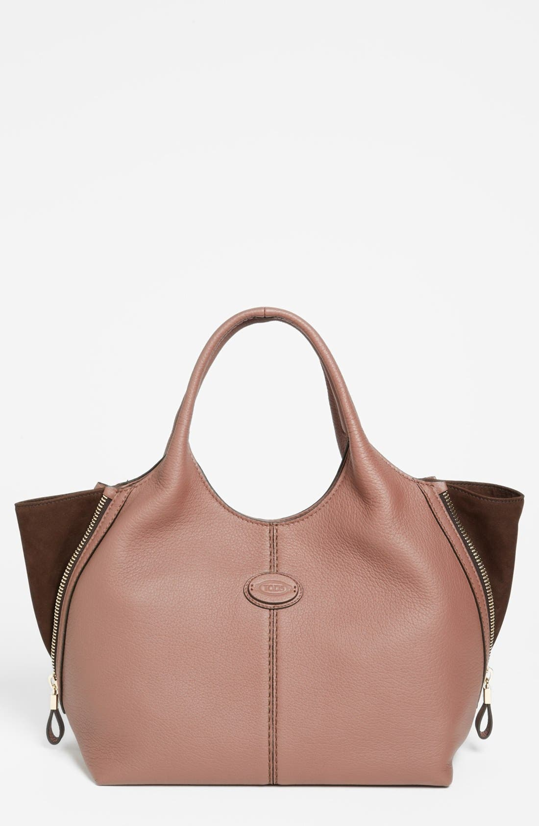 Alternate Image 1 Selected - Tod's 'ALH Side Zip - Small' Leather Shopper