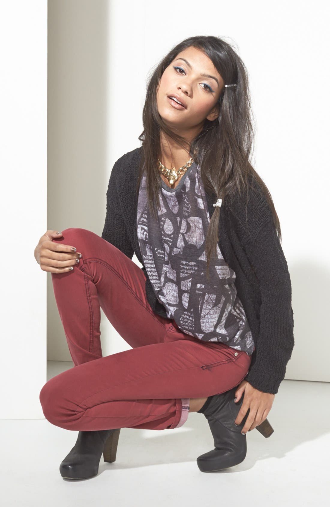 Alternate Image 1 Selected - Rubbish® Cardigan, Lush Muscle Tank & Fire Jeans