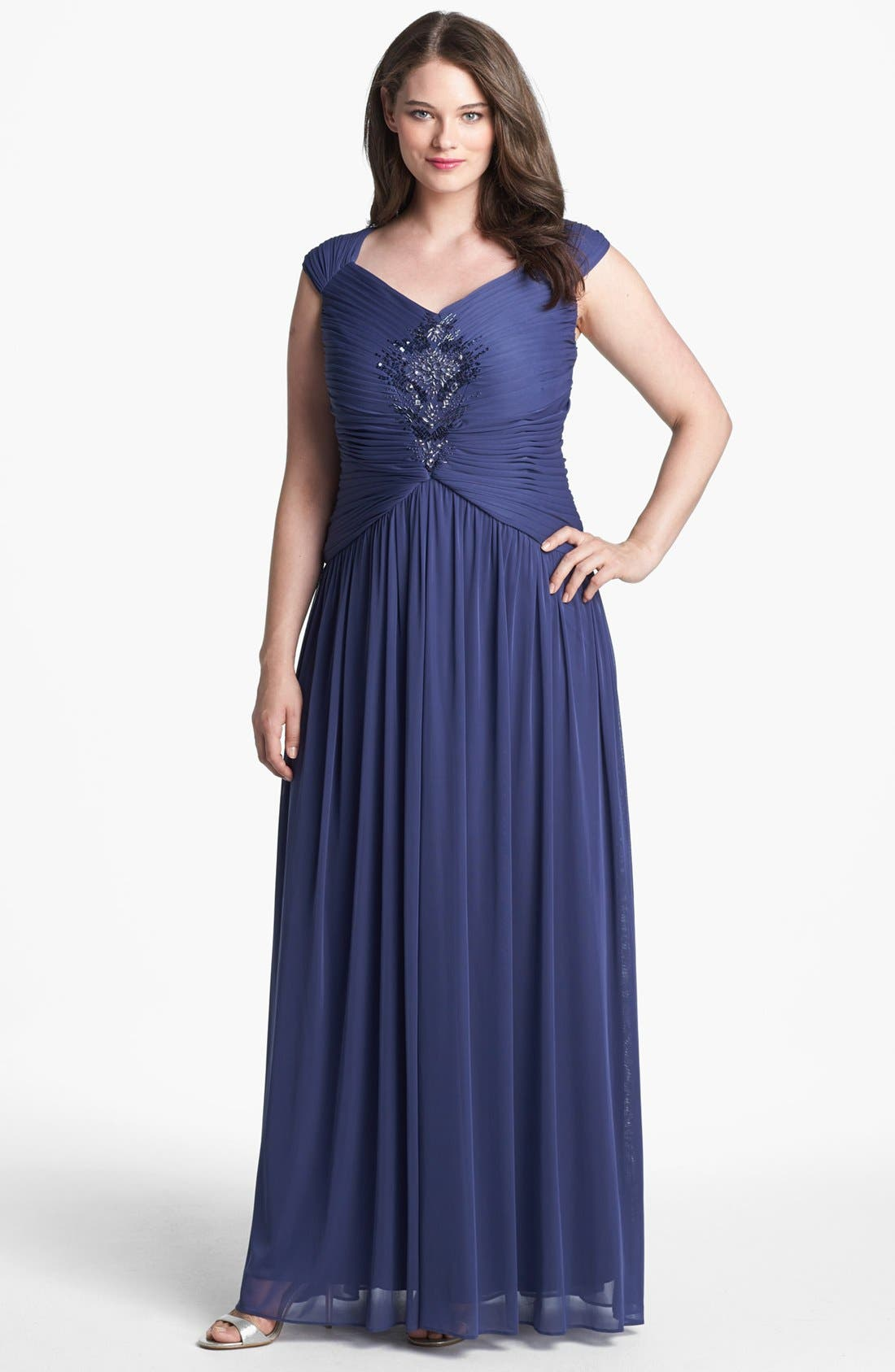 Alternate Image 1 Selected - Adrianna Papell Embellished Pleat Gown (Plus Size)