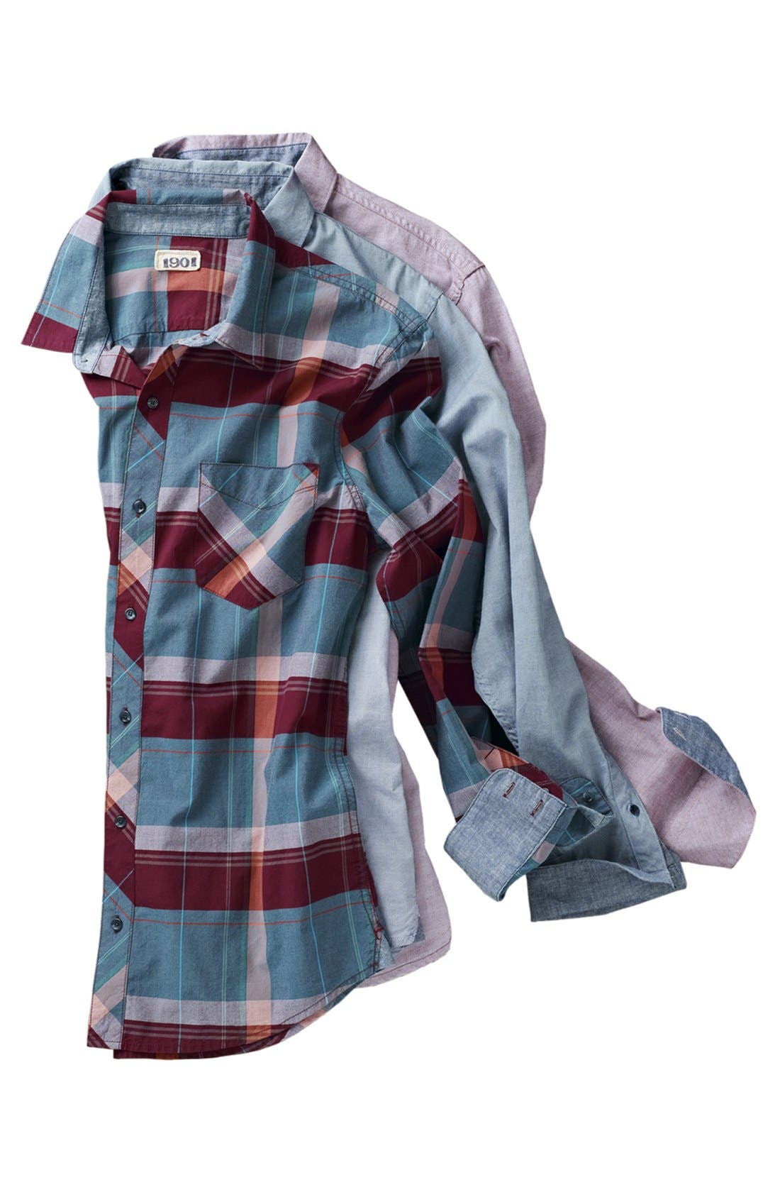 Alternate Image 4  - 1901 Trim Fit Plaid Poplin Shirt