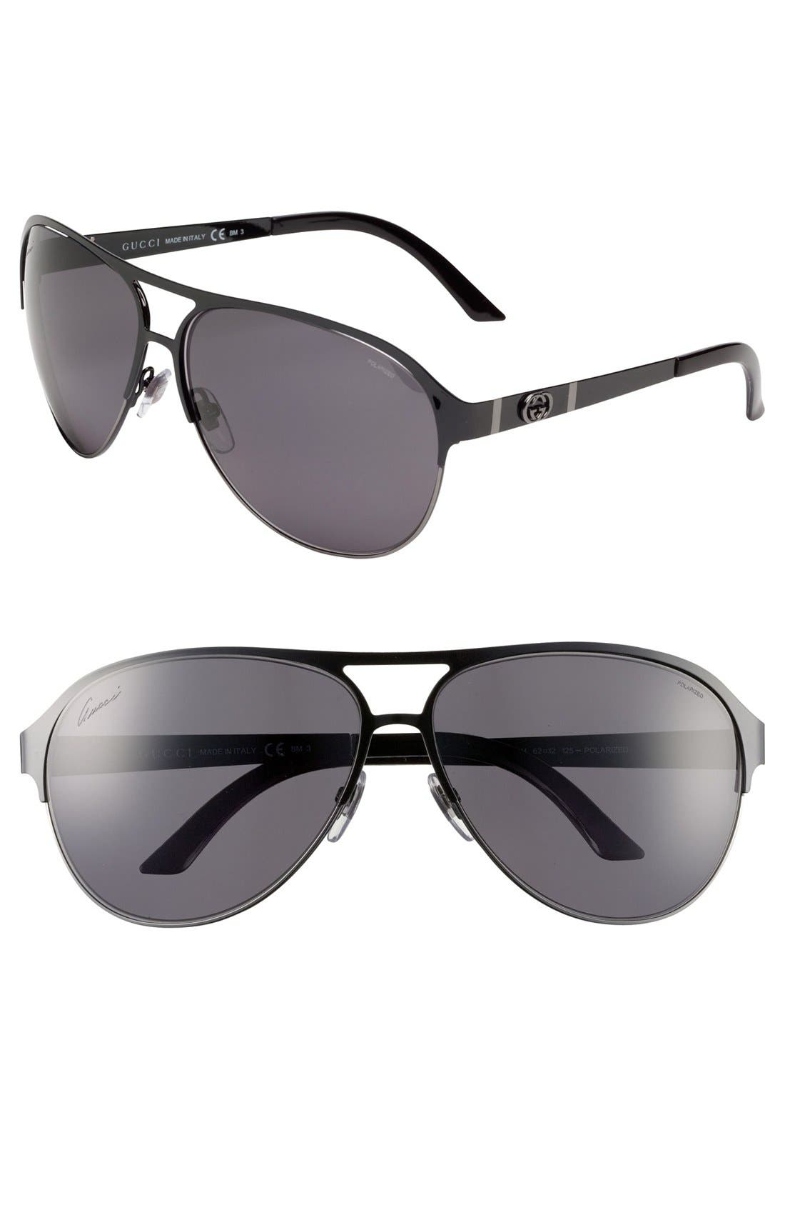 Main Image - Gucci 62mm Polarized Metal Aviator Sunglasses