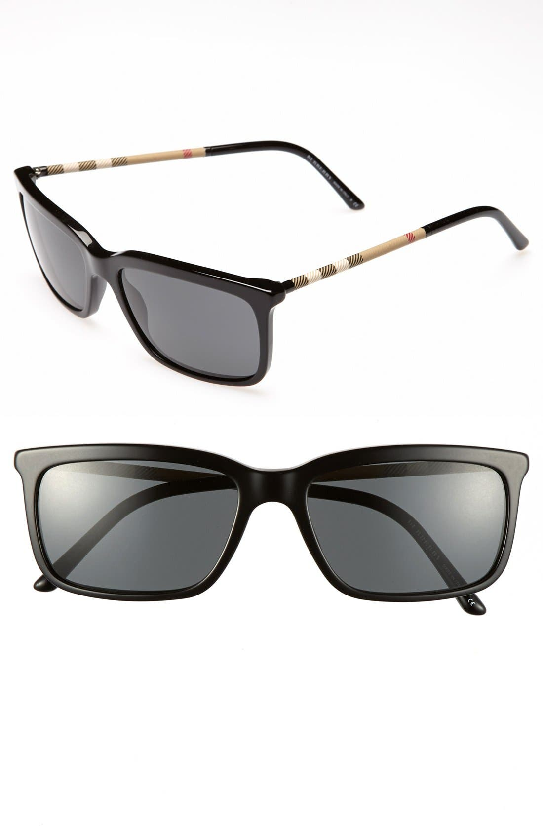 Alternate Image 1 Selected - Burberry Check Temple 57mm Sunglasses