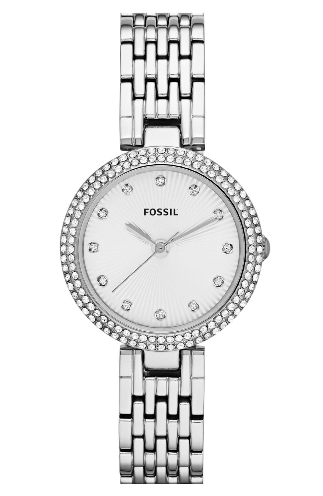 Main Image - Fossil 'Olive' Crystal Bracelet Watch, 28mm