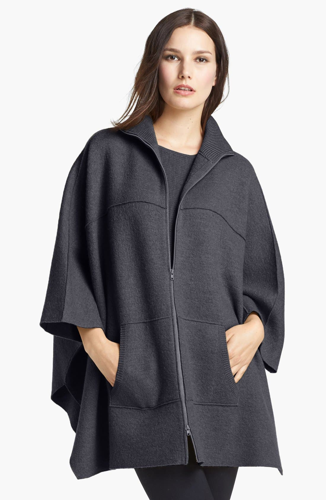 Alternate Image 1 Selected - Eileen Fisher Boiled Wool Poncho Cardigan