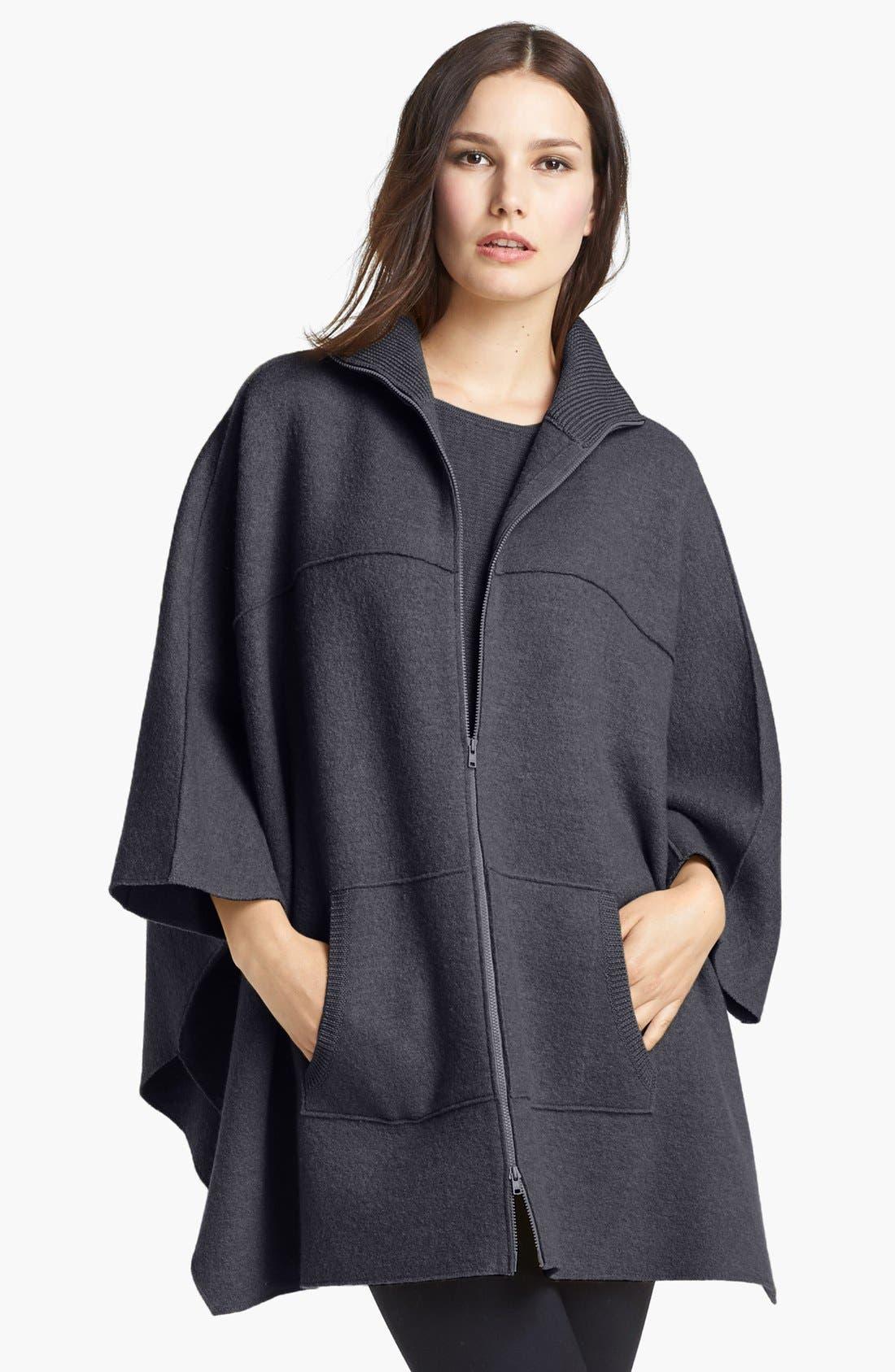 Main Image - Eileen Fisher Boiled Wool Poncho Cardigan