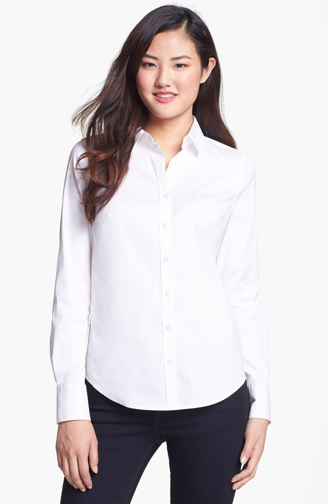 Alternate Image 1 Selected - Halogen® Stretch Poplin Shirt (Regular & Petite)